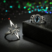 Vintage Finger Ring Starry Gem Leaves Flower Butterfly Knuckle Rings Set Fashion Jewelry for Women