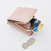 Mulheres Trifold PU Solid Multi-Function Wallet Concise 7 Card Slot Holder Coin Purse