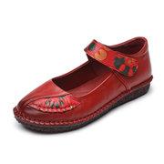 جلدية هوك حلقة لينة وحيد خمر الأحذية المسطحة