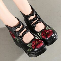 Leather Embroidered Zipper Folkways Platform Shoes