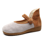 Mujer Comfy Straw Edged Big Round Toe Buckle zapatos planos