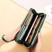 Женское Досуг Натуральная Кожа Long Wallet 8 Слот для карт Телефон Кошелек
