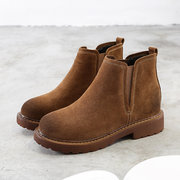 Genuine Leather Pure Color Ankle Flat Boots For Women