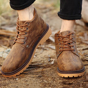 Men Metal Button High Top British Casual Outdoor Lace Up Boots