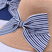 Womens Wild Breathable Vacation Bowknot  Straw Hat Outdoor Sea Sunshade Ultraviolet-proof Hats