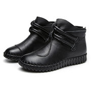 Large Size Women Comfy Handmade Genuine Leather Solid Color Flat Short Boots