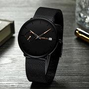 Moda orologio al quarzo da uomo quadrante semplice colore luminoso ago visualizzazione del giorno sottile orologio al quarzo