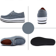 Women Casual Cow Leather Suede Solid Color Lace Up Flat Boat Shoes