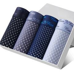 4 رجل الحرير الجليد الداخلية هدية مربع ثقوب شبكة تنفس الملاكمين مشروط مرونة مع الحقيبة