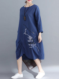 Embroidered Asymmetrical Long Sleeve Vintage Dress