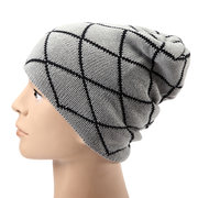 Korean Male Double Layer Elastic Outdoor Cap Grid Twill Square Knitted Slouch Beanie Hat