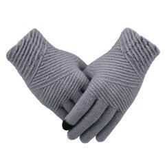 Women Winter Warm Solid Color Full-finger Gloves Outdoor Casual Windproof Touch Screen Gloves