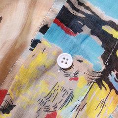 Mens Funny Graffiti Colour Printing Camicia leggera a manica corta con colletto rovesciato