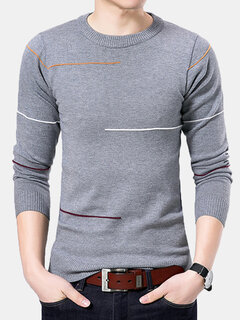 Mens Brief Breathable Striped Solid Color O-Neck Long Sleeve Knit Casual Sweater