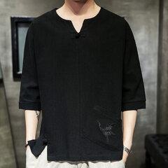 Mens estilo nacional guindaste bordado meia manga cor sólida solta fit casual camiseta