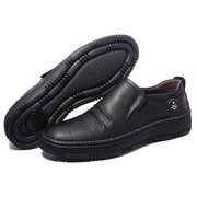 Menico Large Size Men Microfiber Leather Rubber Sole Soft Loafers