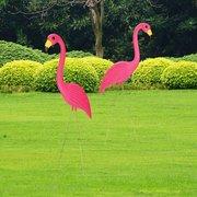 2Pcs Pink Flamingos Plastic Yard Garden Decorations Lawn Art Ornaments Retro Statue