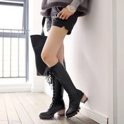 Big Size Pure Color Lace Up Knee High Chunky Heel Boots