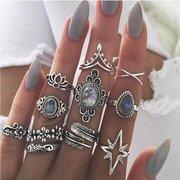 خمر البنصر النجوم جوهرة يترك زهرة الفراشة خواتم المفصل مجموعة الأزياء والمجوهرات للنساء