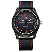 Luxury Business Watches Genuine Leather Men's Watches Big Dial Luminous Hand Black Watches