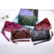 Bifold Damen Echtes Leder lange Brieftasche 12 Card Slot Floral Multifunktions Clutch