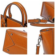 Women Genuine Leatehr Oil Wax Retro Handbags Large Capacity Leisure Tote Crossbody Bags