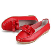 Leather Butterflyknot Pure Color Soft Comfortable Round Toe Slip On Flat Shoes