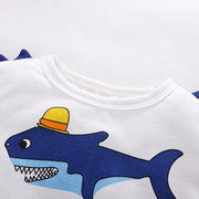 T-Shirt in cotone manica lunga con stampa Sharks Print per 2Y-9Y
