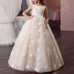 Кружевные платья для девочек-цветов Свадебное Платье макси на день рождения для 8-15 лет