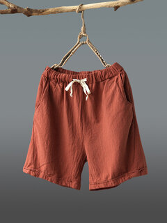 Drawstring Waist Loose Solid Color Casual Shorts For Women