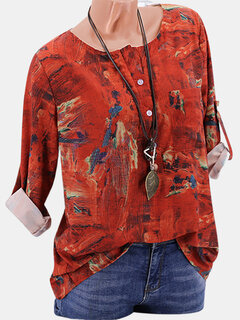 Casual Print Crew Neck Button Long Sleeve Shirt