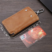 Men Retro Genuine Leather Multi-function 6 Key Holder Purse Solid Card Holder