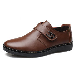 Men British Style Flat Lace Up & Hook Loop Leather Casual Shoes