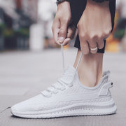Runway Men's Shoes Sports And Leisure Shoes Season New Flying Woven Mesh Running Shoes Small White Shoes Tide