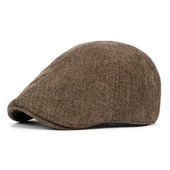 Men Retro England Style Cotton Hemp Solid Sweat Breathable Leisure Beret Cap UV Protection Sun Hat