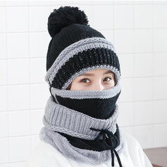 Women Winter Thick Plush Warm Knit Beanie Hat Masks Scarf Set Outdoor Ski Windproof Ear Cover Hat
