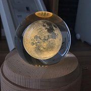 Moon Crystal Ball Wooden Luminous Music Box Rotary Innovative Valentine's Day Christmas Gift