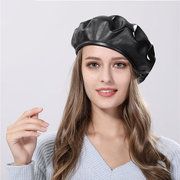 Womens Winter Solid Color Leather French Beret Cap Warm Outdoor Casual Vogue Hats