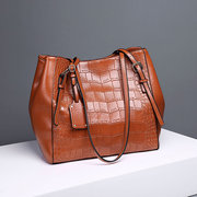Women Crocodile Pattern Oil Wax Bucket Bags Solid Casual Shoulder Bags