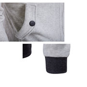 Mens Fashion Hoodies Solid Color Buttons Pockets Casual Zip Up Sport Hooded Tops