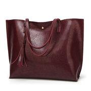 Donna Casual Tote Bag in Pelle Oleata con Grande Capacità alla Moda Borsa a Spalla