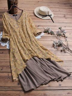vendimia Patchwork estampado floral con cuello en V Plus tamaño Vestido con bolsillos