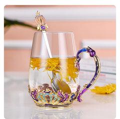Enamel Crystal Glass Rose Flower Tea Cup Set Spoon Coffee Cup Beer Mug Kit Wedding Gift