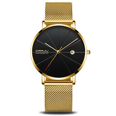 CRRJU Unisex Ultra Thin Minimalist Watches Classic Date Stainless Steel Mesh Strap Business Watches