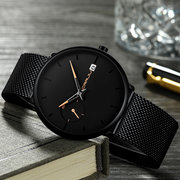 Fashion Men Quartz Watch Simple Dial Color Bright Needle Day Display Thin Quartz Watch