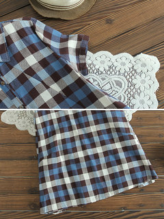 Plaid Print Patchwork Short Sleeve Lapel Vintage Dresses