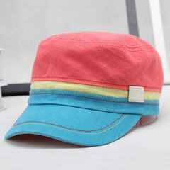 Men Colorful Cotton Military Cap Outdoor Casual Breathable Sunscreen Flat Hat