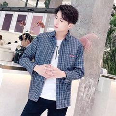 Saison nouvelle rétro littéraire treillis lâche broderie chemise à manches longues chemise masculine Harajuku chemise service de classe étudiante coréenne
