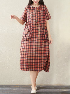 Vintage Plaid Button Short Sleeve Dress with Pockets