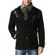 Trench-coat business chaud décontracté motif patchwork manteau hiver épais doublé de polaire pour homme